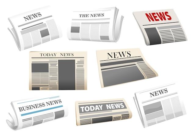 Ilustración de periódico con encabezados aislados en blanco para diseño de medios