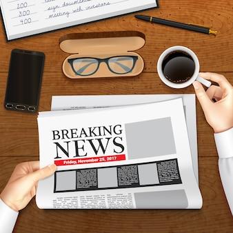 Ilustración de periódico de negocios realista