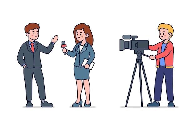 Ilustración de periodismo aislado fondo blanco.