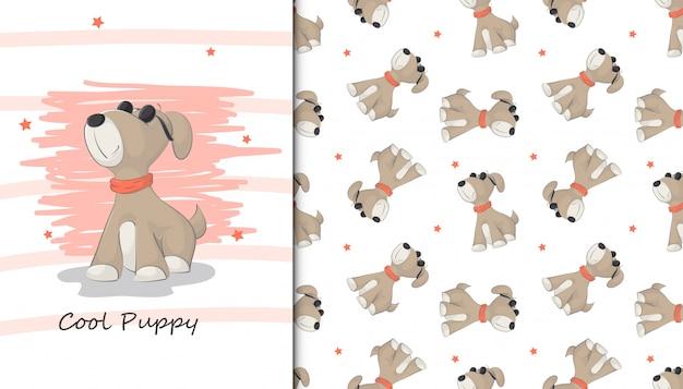 Ilustración de perrito lindo y patrón de bebé
