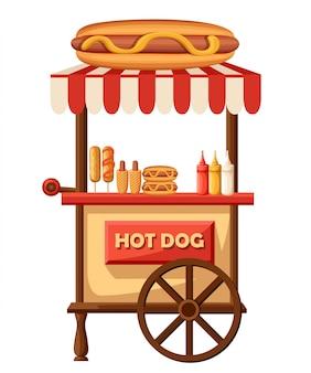 Ilustración de perro caliente de coche de comida rápida. icono de carro de tienda vintage retro móvil con letrero con gran perro caliente. vista lateral, sobre fondo blanco. concepto de comida rápida o chatarra.