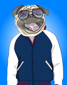 Ilustración de perro fresco