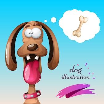 Ilustración de perro loco.