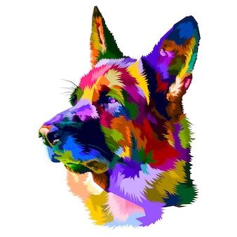 Ilustración del perro de pastor alemán aislada en el fondo blanco.