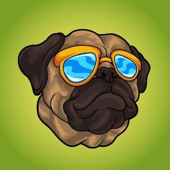Ilustración de perro pug