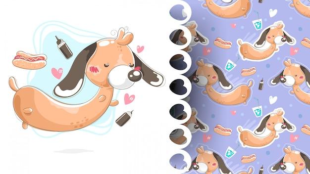 Ilustración de perro salchicha con hot dog y patrones