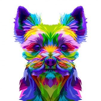 Ilustración del perro yorkshire terrier sobre fondo blanco