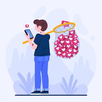 Ilustración de una persona adicta a las redes sociales