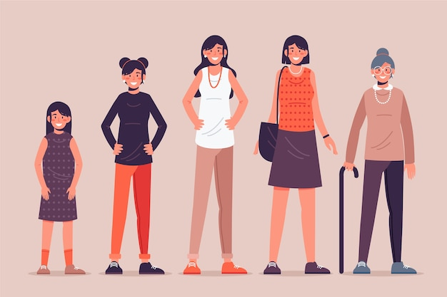 Ilustración con persona en diferentes edades