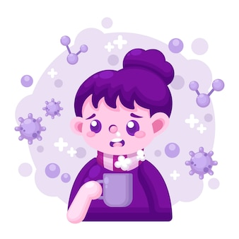 Ilustración con persona con gripe