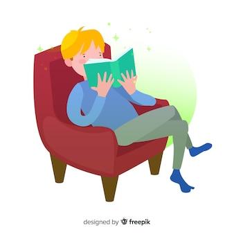 Ilustración persona leyendo dibujada a mano