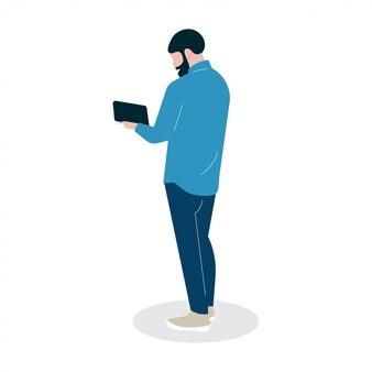 Ilustración persona personaje con gente chico trabajo estilo de vida