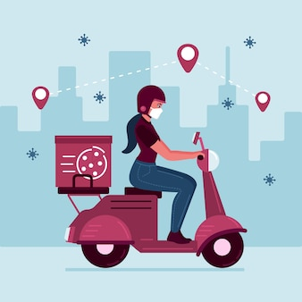 Ilustración de una persona que realiza actividades de entrega