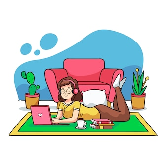 Ilustración de una persona que se relaja en casa