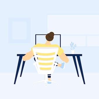 Ilustración de la persona que trabaja desde casa