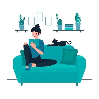 Ilustración con persona relajándose en casa