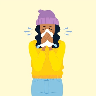Ilustración de una persona con un resfriado