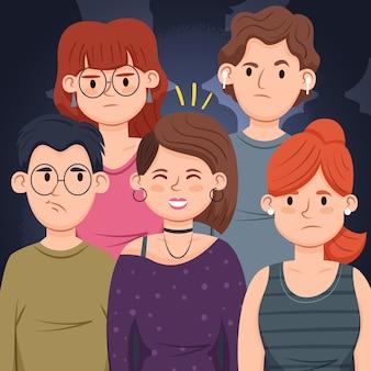 Ilustración con persona sonriente en multitud