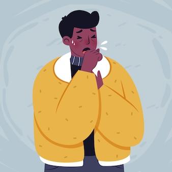 Ilustración de persona tosiendo