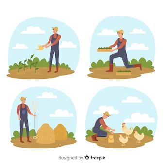 Ilustración de personaje de actividad de tierras de cultivo