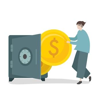 Ilustración de personaje ahorrando dinero en caja fuerte.