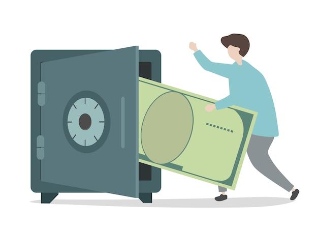 Ilustración del personaje ahorrando dinero