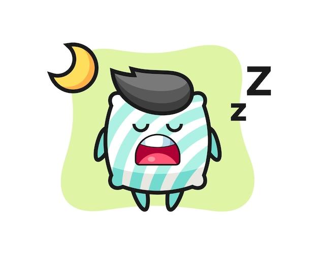 Ilustración de personaje de almohada durmiendo por la noche, diseño de estilo lindo para camiseta, pegatina, elemento de logotipo