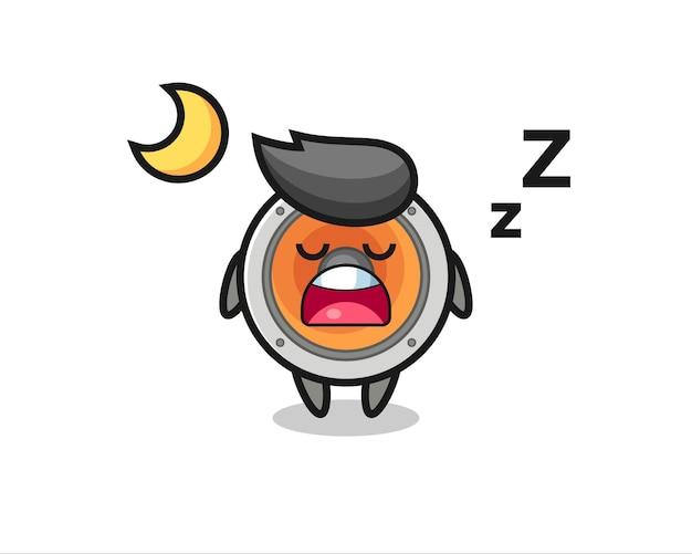 Ilustración de personaje de altavoz durmiendo por la noche, diseño de estilo lindo para camiseta, pegatina, elemento de logotipo