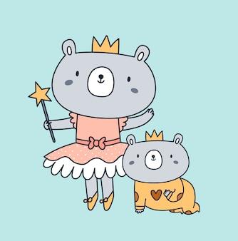 Ilustración de personaje animal de oso infantil