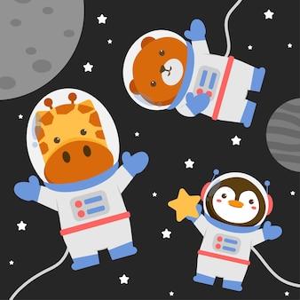 Ilustración personaje animal vistiendo un traje espacial con estrellas