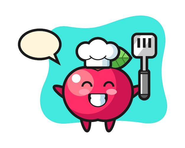 Ilustración de personaje de apple como un chef está cocinando