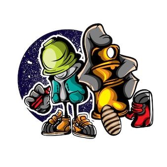 Ilustración del personaje del artista de graffiti
