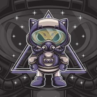 Ilustración de personaje de astronauta de gato