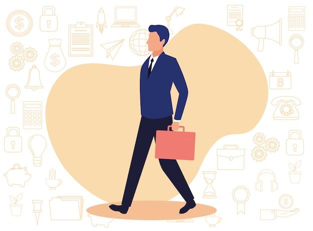 Ilustración de personaje de avatar de hombre de negocios joven