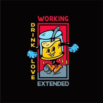 Ilustración de personaje de bebida vintage para camiseta