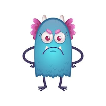 Ilustración de personaje de bestia enojada divertida de dibujos animados