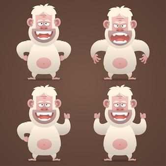 Ilustración, personaje bigfoot en diferentes poses, formato eps 10