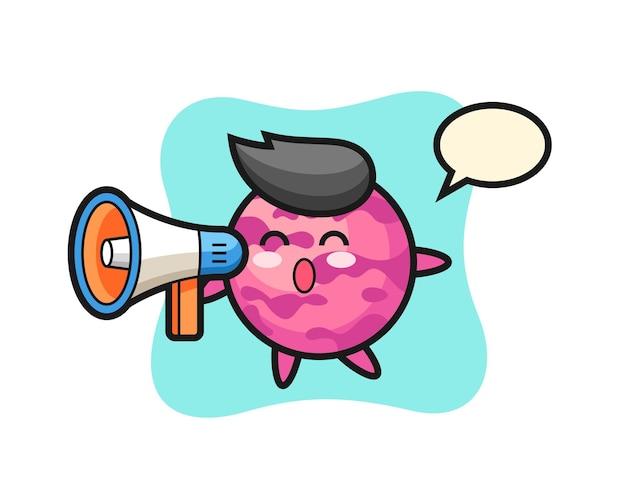 Ilustración de personaje de bola de helado sosteniendo un megáfono, diseño de estilo lindo para camiseta, pegatina, elemento de logotipo