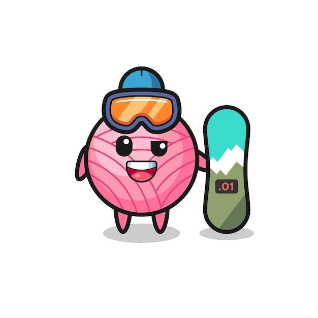Ilustración del personaje de bola de hilo con estilo de snowboard, diseño de estilo lindo para camiseta, pegatina, elemento de logotipo