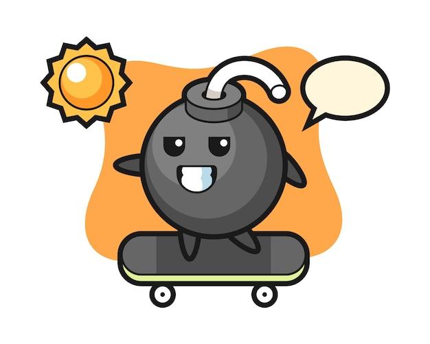 Ilustración de personaje de bomba andar en patineta