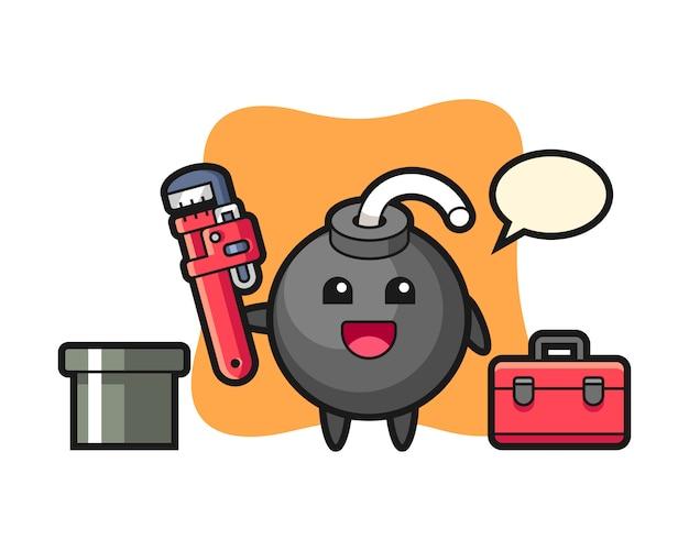 Ilustración de personaje de bomba como plomero.