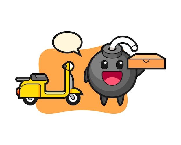 Ilustración de personaje de bomba como repartidor de pizzas