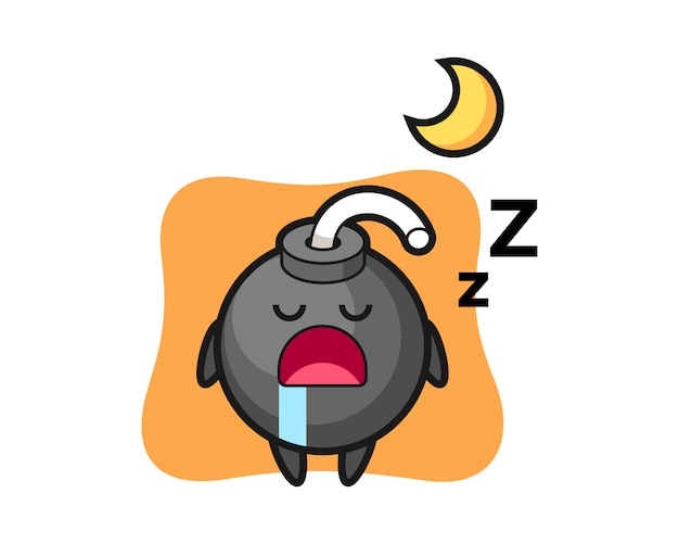 Ilustración de personaje de bomba durmiendo por la noche
