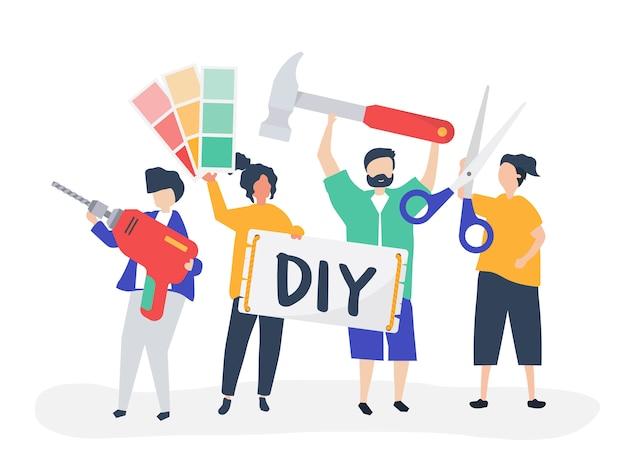 Ilustración de personaje de bricolaje concepto de mejoras para el hogar