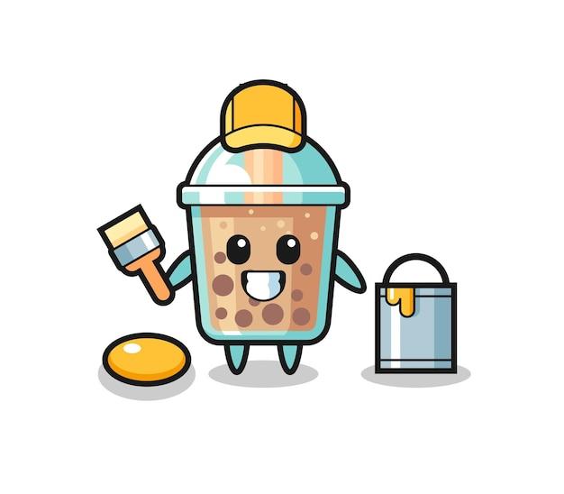 Ilustración de personaje de bubble tea como pintor, diseño de estilo lindo para camiseta, pegatina, elemento de logotipo