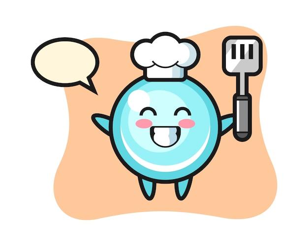 Ilustración de personaje de burbuja como un chef está cocinando, diseño de estilo lindo