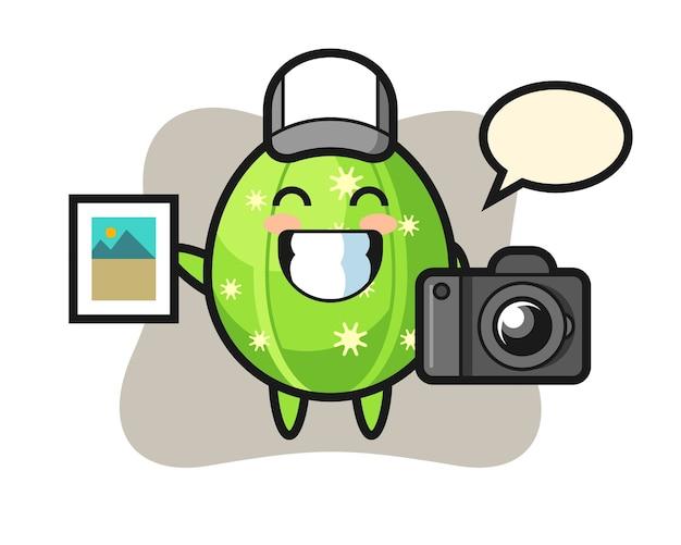 Ilustración de personaje de cactus como fotógrafo.
