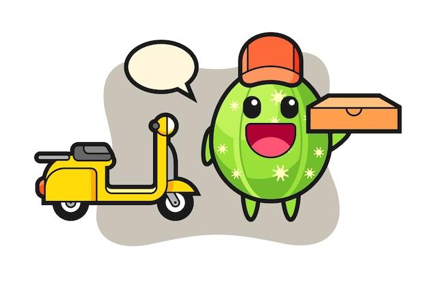 Ilustración de personaje de cactus como repartidor de pizzas