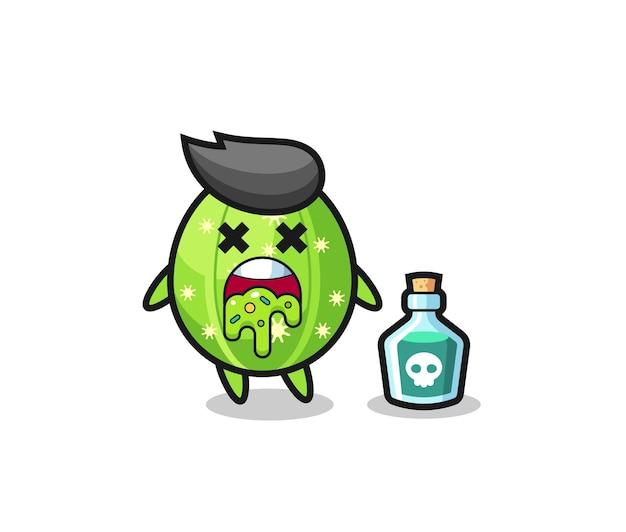 Ilustración de un personaje de cactus que vomita debido a una intoxicación, diseño de estilo lindo para camiseta, pegatina, elemento de logotipo