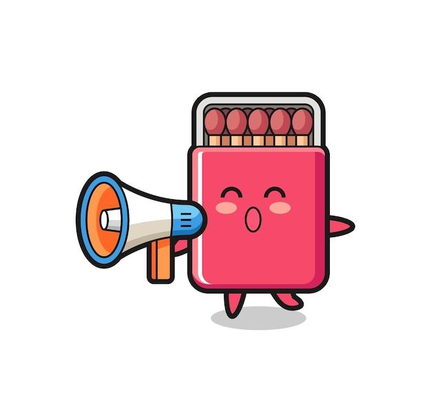 Ilustración de personaje de caja de coincidencias sosteniendo un megáfono, diseño lindo